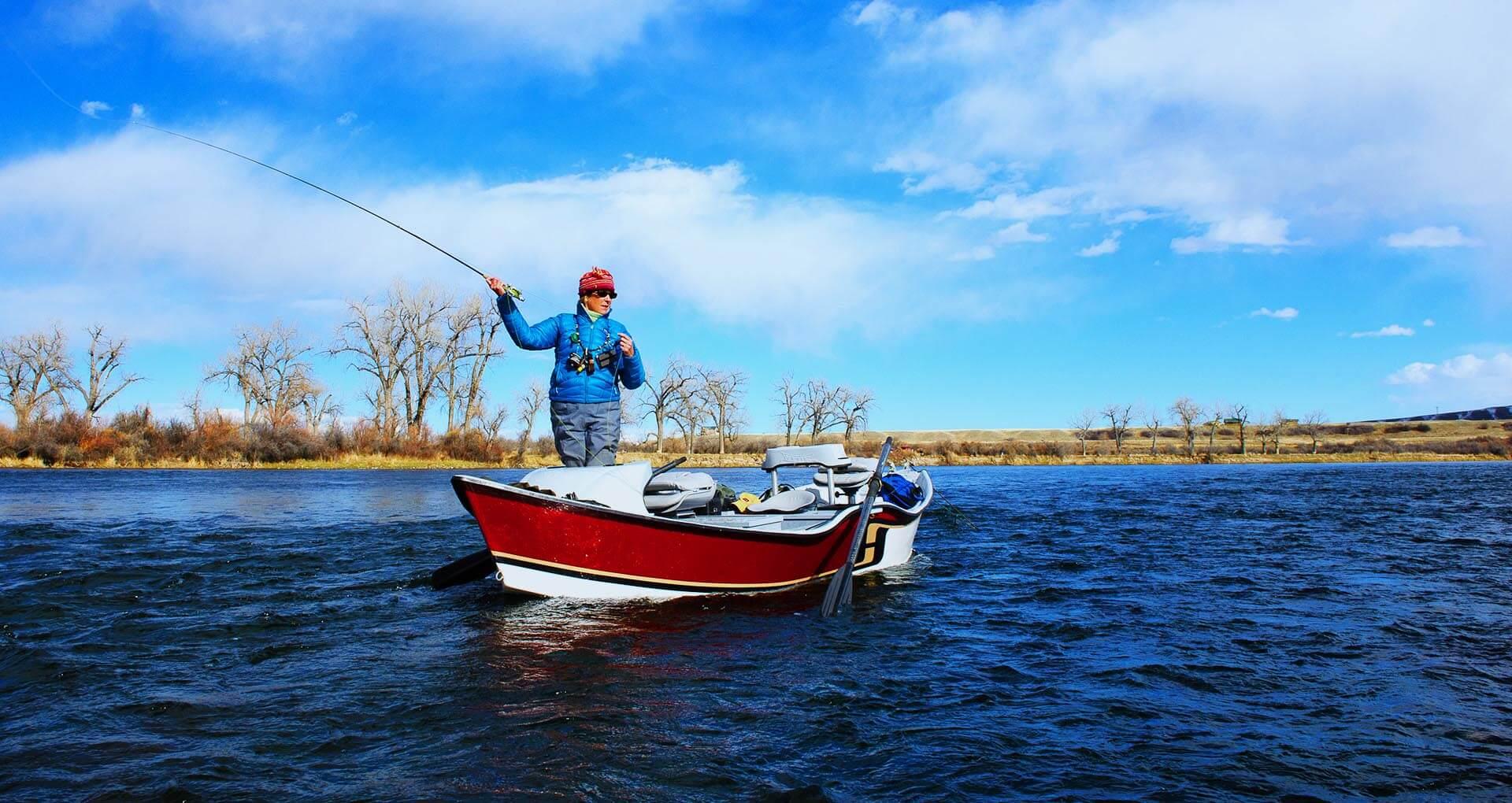 Woman Fishing from a Drift Boat