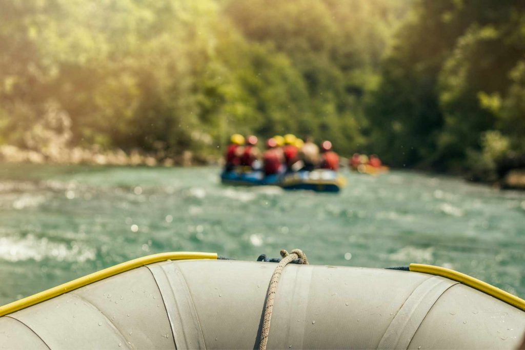 Paddle raft on the river